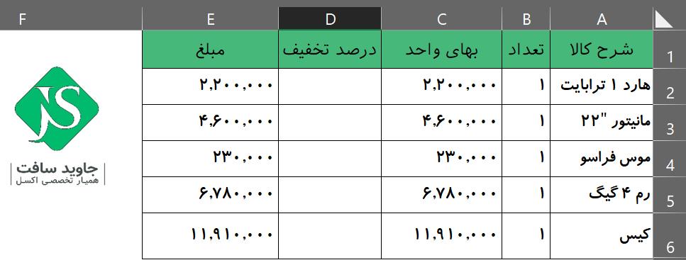 جدول محاسبه درصد تخفیف در اکسل