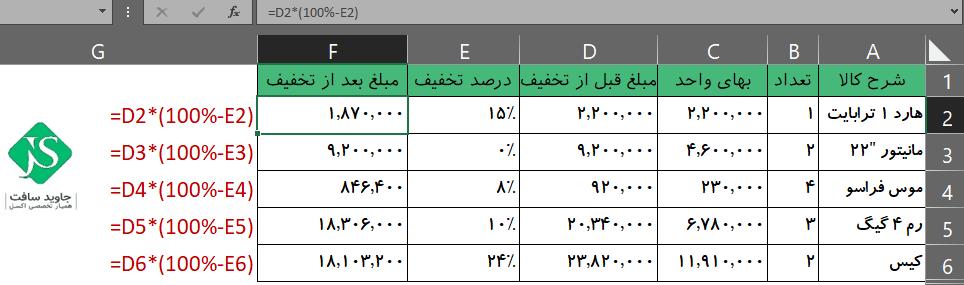 فرمول محاسبه مبلغ کل پس از کسر درصد تخفیف