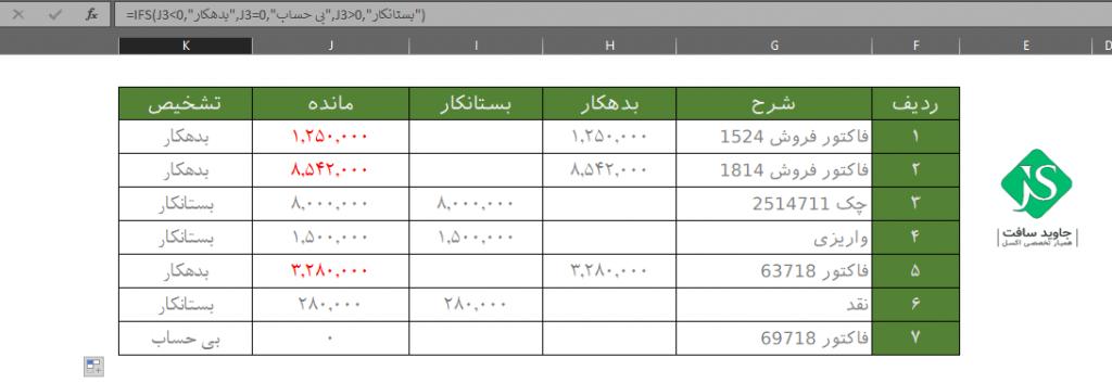 کاربرد تابع IFS در فرمول نویسی چند شرطی در دفتر معین