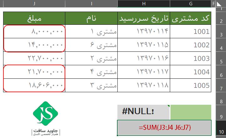 خطای فرمول نویسی !NULL# در اکسل