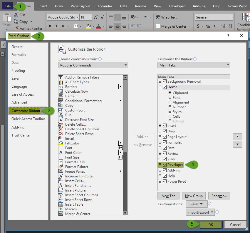 فعال کردن تب Developer