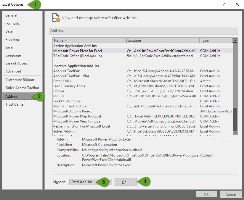 اضافه کردن Add-ins از طریق تنظیمات اکسل