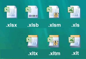 پسوند های معمول اکسل در نسخه های بعد از 2013