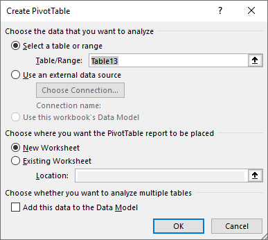 ایجاد Pivot Table