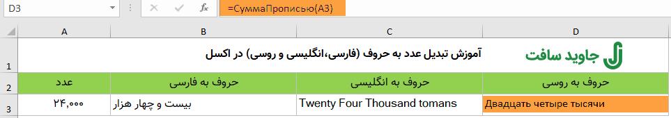 تابع تبدیل عدد به حروف روسی