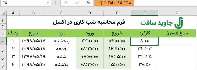 فرمول محاسبه ساعت شب کاری در اکسل