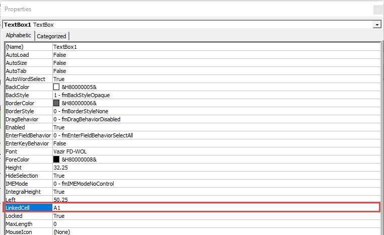 لینک کردن TextBox به سلول شیت
