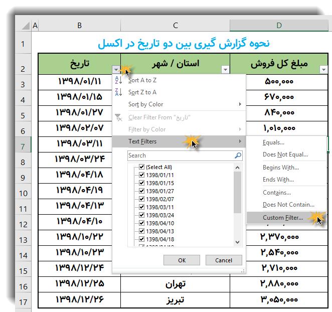 استفاده از ابزار Custom Filter برای گزارش گیری