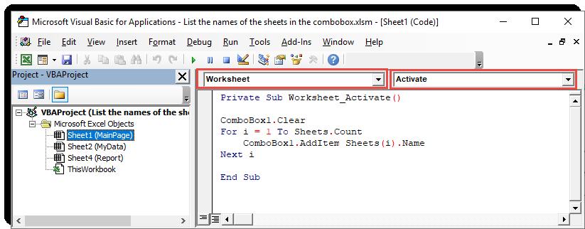 کدنویسی مربوط به لیست کردن نام شیت ها در combobox