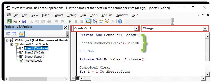 انتقال سریع بین شیت ها از طریق combobox